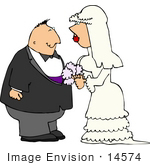 #14574 Caucasian Bride And Groom Couple Getting Married Clipart