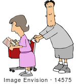 #14575 Middle Aged Caucasian Couple Shopping Clipart by DJArt