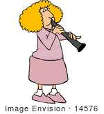 #14576 Blond Caucasian Woman Playing A Clarinet Clipart