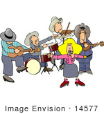 #14577 Country Music Band With A Singer Guitarist Drummer Violinist And Banjo Player Clipart
