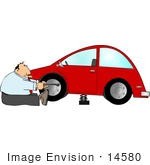 #14580 Middle Aged Caucasian Man Changing a Tire on His Car Clipart by DJArt