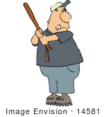 #14581 Angry Middle Aged Caucasian Man Holding A Club Clipart