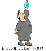 #14587 Caucasian Man In Coveralls Changing A Light Bulb Clipart