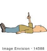 #14588 Middle Aged Caucasian Man Laying On His Back Pointing Upwards Clipart