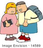 #14589 Little Boy And Girl On Their Way To School Clipart