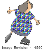 #14590 Middle Aged Caucasian Woman Roller Skating Clipart