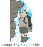 #14591 Middle Aged Caucasian Man Rock Climbing Clipart by DJArt