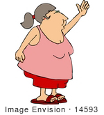 #14593 Obese Middle Aged Woman In Shorts And A Tank Top Waving Clipart