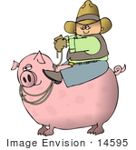 #14595 Cowboy Riding a Pig Instead of a Horse Clipart by DJArt