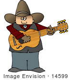 #14599 Caucasian Cowboy Holding And Strumming A Guitar Clipart