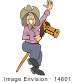 #14601 Cowgirl Woman Waving And Riding A Sick Pony Horse Toy Clipart