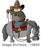 #14603 Cowboy Riding Backwards On A Horse Clipart