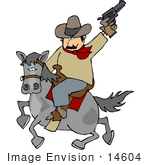 #14604 Cowboy Holding A Pistil Up And Riding A Horse Clipart