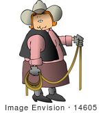 #14605 Middle Aged Caucasian Cowgirl Woman Holding A Lariat Rope Clipart