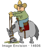 #14606 Cowboy On A Horse That Is Eating Clipart