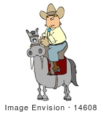 #14608 Cowboy Riding High On A Grey Horse Clipart