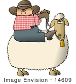 #14609 Caucasian Cowboy Riding A Sheep Clipart