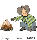 #14611 Cowboy Man Roasting A Marshmallow Over A Fire Clipart