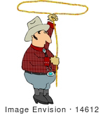 #14612 Cowboy Man Spinning a Lariat Lasso Rope Over His Head Clipart by DJArt
