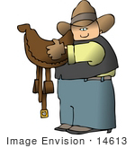 #14613 Caucasian Cowboy Carrying A Brown Leather Saddle Clipart