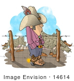 #14614 Texan Cowboy Man With Spurred Boots By Bulls Clipart