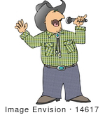 #14617 Caucasian Cowboy Man Singing Clipart