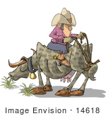 #14618 Texan Cowboy Man Seated Backwards On A Steer The Reins Tied To The Tail Clipart