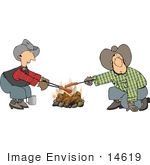 #14619 Two Caucasian Cowboys Roasting Hot Dogs Over A Campfire Clipart