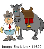 #14620 Cowboy Holding The Reins To His Horse Clipart