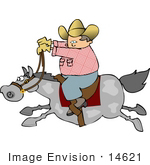#14621 Cowboy Man Riding A Fast Horse Clipart