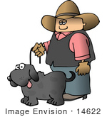 #14622 Caucasian Cowboy Walking His Gray Dog Clipart