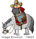 #14623 Clipart Of A High Tech Cowboy Using A Laptop Computer On A Horse Clipart
