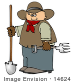 #14624 Cowboy With A Shovel And Pitchfork Clipart
