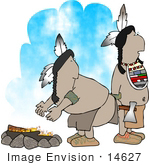 #14627 Native American Indian Men By A Fire Clipart