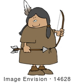 #14628 Native American Woman With A Bow And Arrow Clipart
