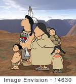 #14630 Amerindian Amerind Native American Indian Family In The Desert Clipart