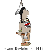 #14631 Native American Indian Man Holding A Hatchet Clipart