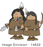 #14632 Native American Indian Women Warriors With a Knife, Hatchet, Bow and Arrow Clipart by DJArt
