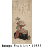 #14633 Photo Of A Geisha Woman Sitting On A Trunk And Holding A Fan