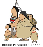 #14634 Native American Family Clipart