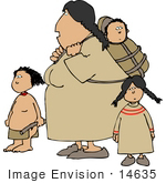 #14635 Native American Indian Mother Woman With Children Clipart