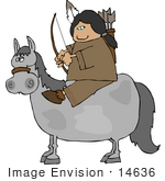 #14636 Native American Woman With A Bow And Arrows On A Horse Clipart