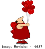 #14637 Middle Aged Caucasian Cupid Man Holding Heart Shaped Balloons Clipart