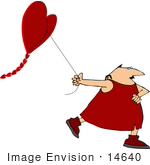 #14640 Cupid Man Pulling a Heart Shaped Kite Clipart by DJArt