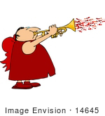 #14645 Cupid Man Playing a Trumpet with Flying Hearts Clipart by DJArt