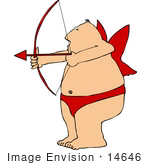 #14646 Middle Aged Caucasian Cupid Man Shooting An Arrow Clipart