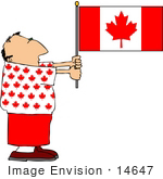 #14647 Middle Aged Caucasian Man Holding A Canadian Flag Clipart