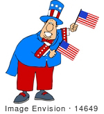 #14649 Uncle Sam Character Holding American Flags Clipart
