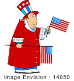 #14650 Uncle Sam Character In A Red Robe Holding American Flags Clipart