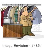 #14651 Middel Aged Caucasian Dry Cleaner Man Clipart